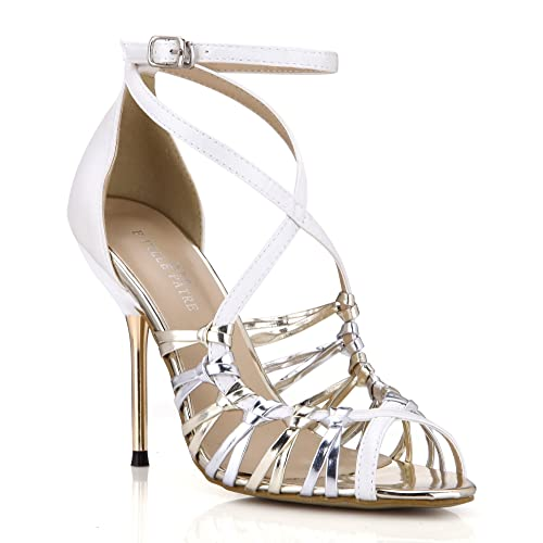 21eb8bb20 Dolphin Women s Silver Sexy Open Toe High Heel Sandals with Ankle Strap  Wedding Dress Peep Toe