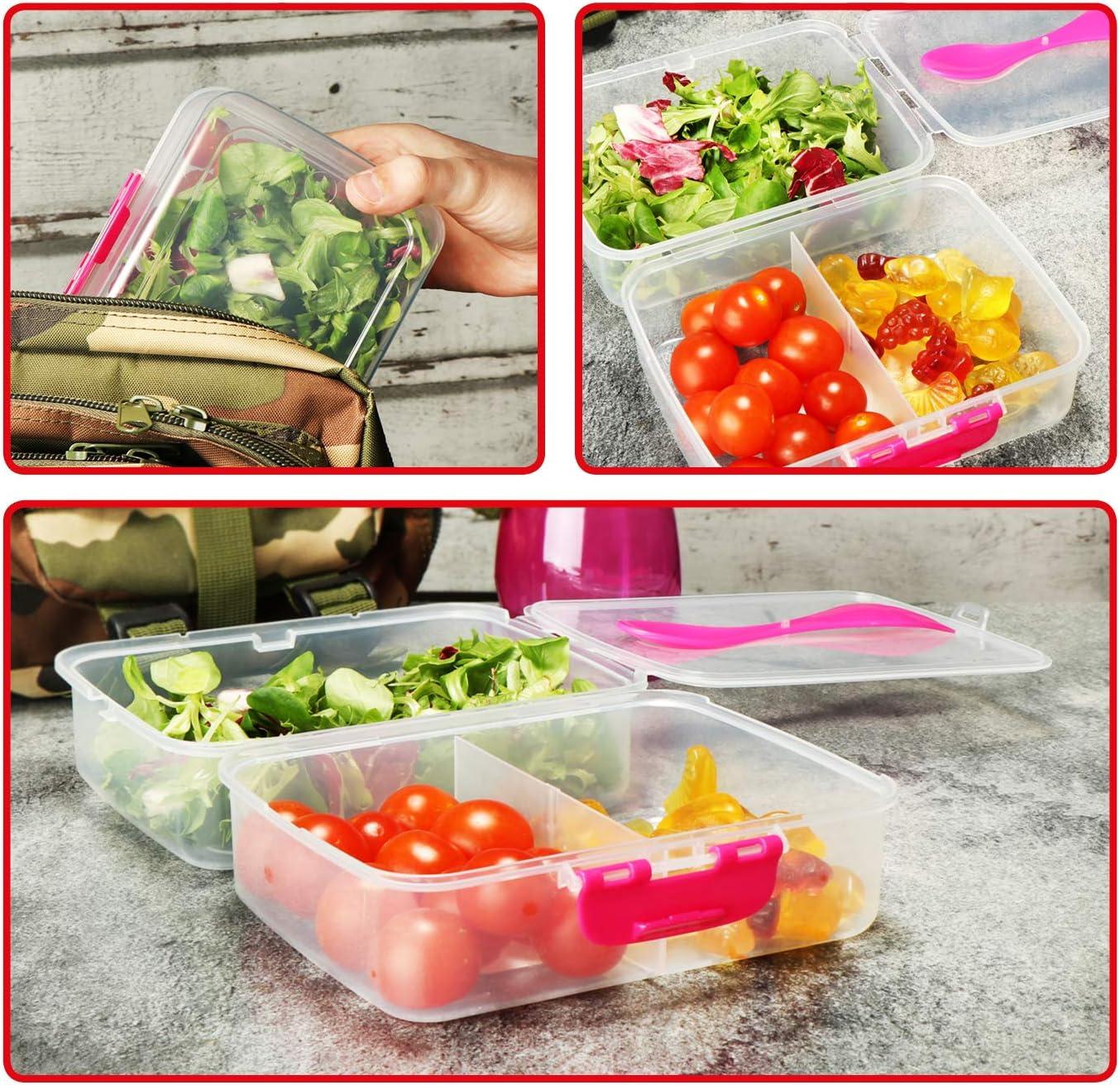 sur la route Bo/îte /à petit-d/éjeuner 17 x 13 x 9,5 cm spork Bo/îte /à lunch transparente pour enfants adultes avec cloisons COM-FOUR/® Bo/îte /à lunch 2x avec une cuill/ère 2 pi/èces - transpar