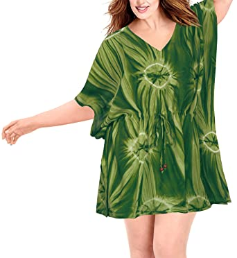 9bd1a4c32b LA LEELA Bikini Swim Beach wear Swimsuit Cover ups Women Caftan Dress Tie  Dye at Amazon Women s Clothing store