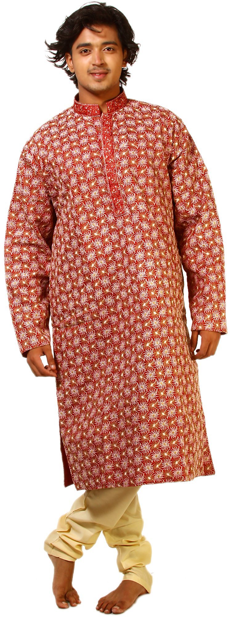 Exotic India Deep Claret-Red Wedding Kurta Pajama Set w Size 42 by Exotic India