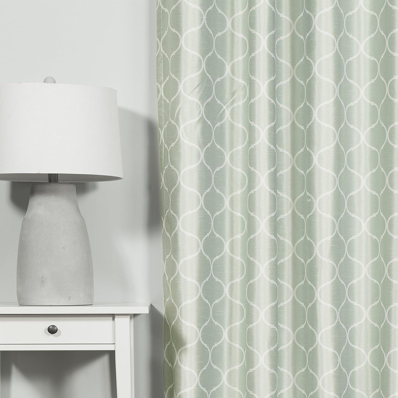 Best Home Fashion Quatrefoil Print Faux Silk Blackout Curtain Stainless Steel Nickel Grommet Top – Mint – 52 W X 84 L – 1 Panel
