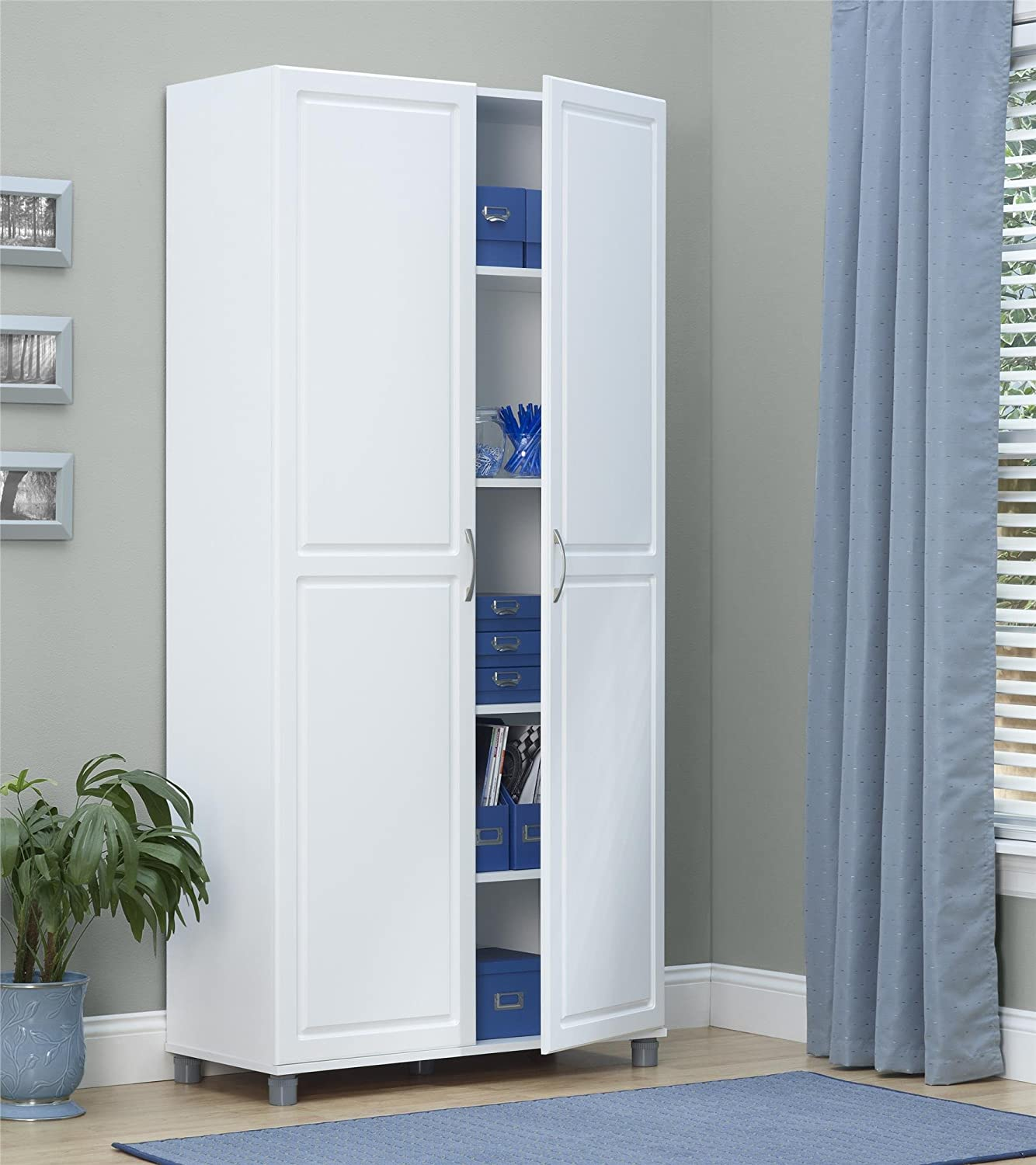 "Ameriwood SystemBuild Kendall 36"" Storage Cabinet, White Stipple"