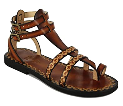 c069279c6 Handcrafted Leather Gladiator Sandals with Pattern