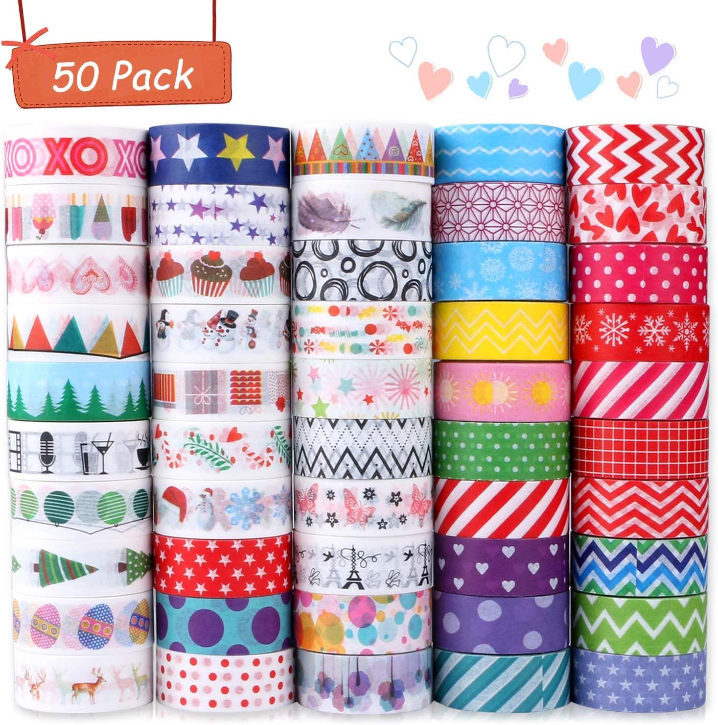 Buluri 50 Rollos de Cinta Adhesiava Washi Cinta Adhesiva Decorativa para Scrapbooking DIY Manualidades