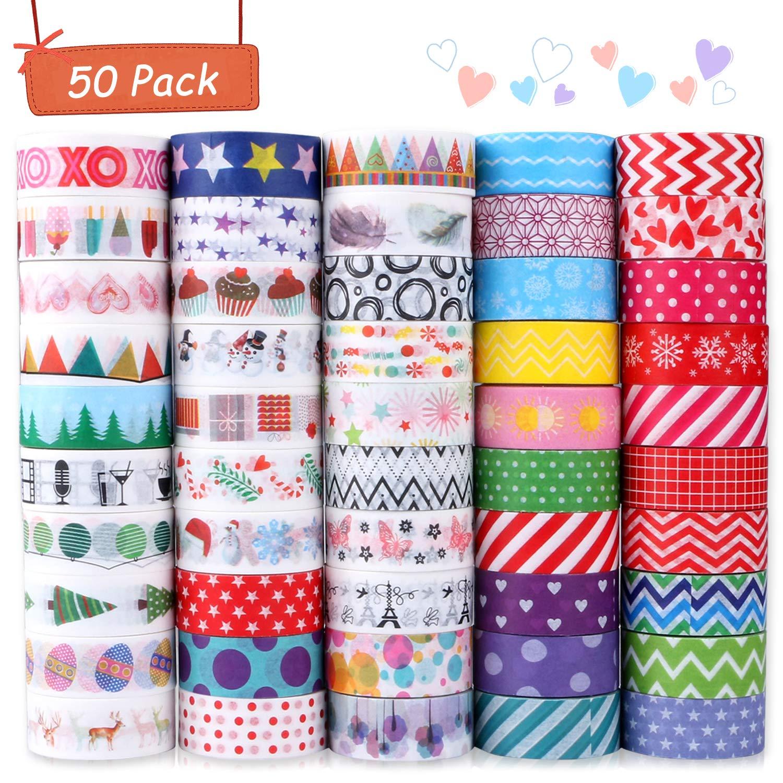 Buluri 50 Rollos de Cinta Adhesiva Washi Cinta Adhesiva Decorativa para Scrapbooking DIY Manualidades product image