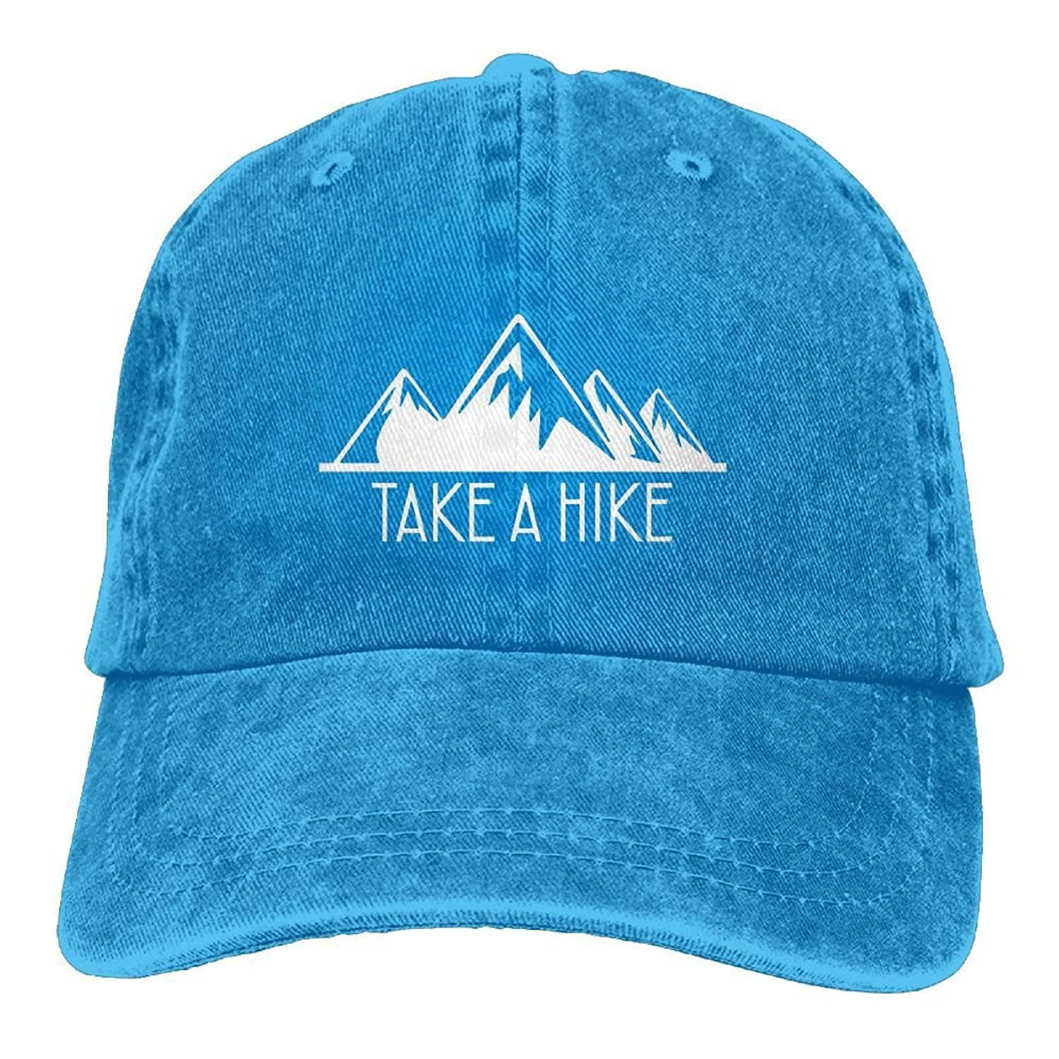 Take A Hike Mountains Retro Unisex Adjustable Cotton Denim Hat Washed Retro Gym Hat