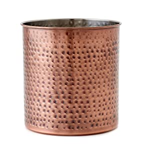 "Old Dutch 1849JB Jumbo Hammered Antique Copper H x 7"" Dia. Utensil Holder, 7x7x7.5"