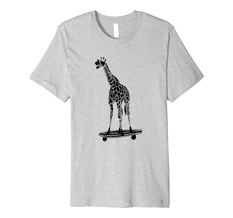 Giraffe on a Skateboard Premium Shirt, With Sunglasses-AZP