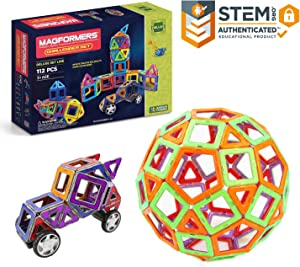 Magformers Challenger Set (112-pieces) Deluxe MagneticBuildingBlocks, EducationalMagneticTiles Kit , MagneticConstructionshapes STEM Toy Set - 63077