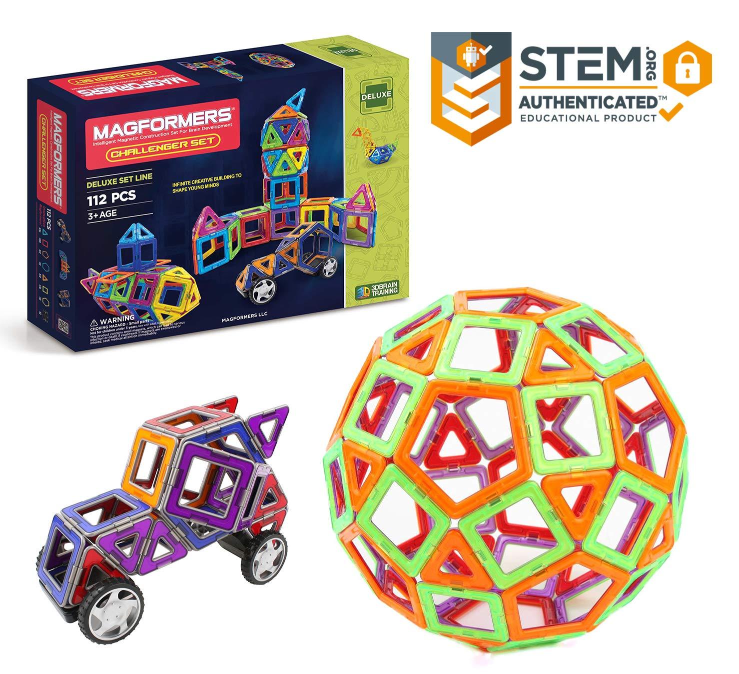 Magformers Challenger Set (112-pieces) Deluxe Magnetic Building Blocks,  Educational Magnetic Tiles Kit , Magnetic Construction shapes STEM Toy Set  -