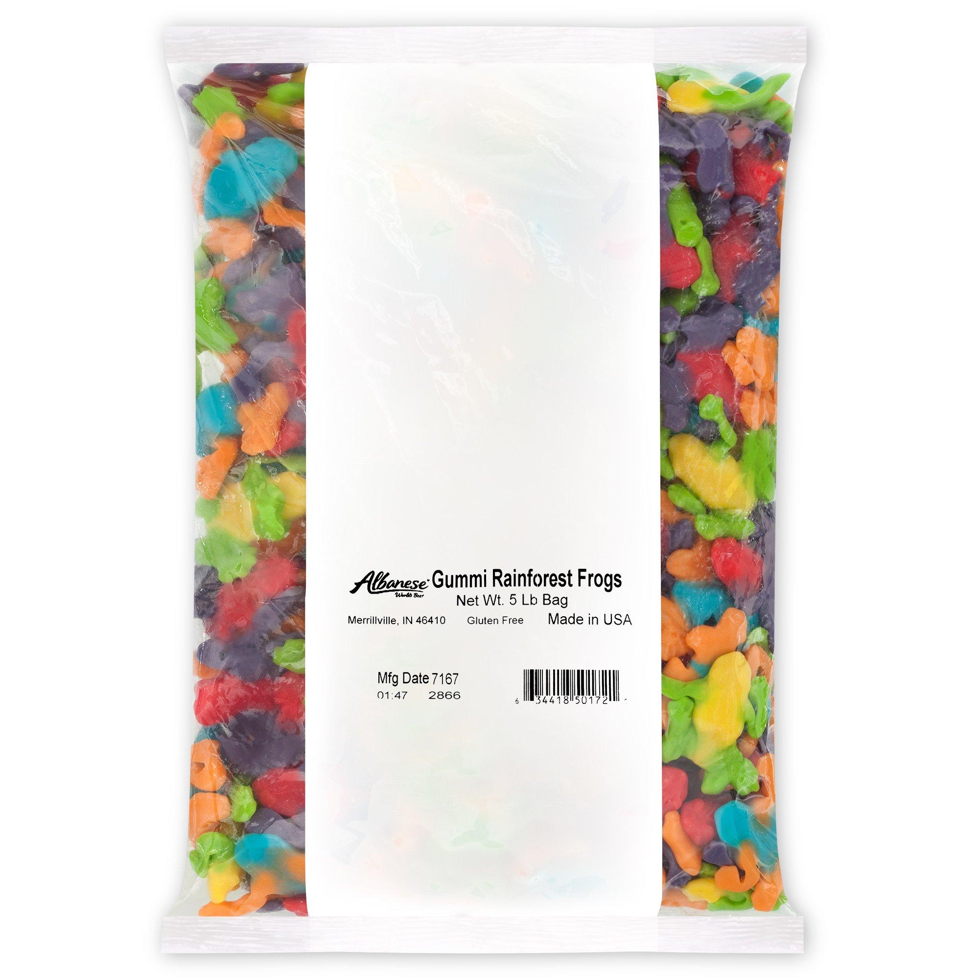 Albanese Candy Gummi Rainforest Frogs, 5 Pound Bag, Assorted Gummi Frogs: Blue Raspberry & Orange, Strawberry & Grape, Sour Lemon & Sour Green Apple; Gluten Free Dairy Free Fat Free