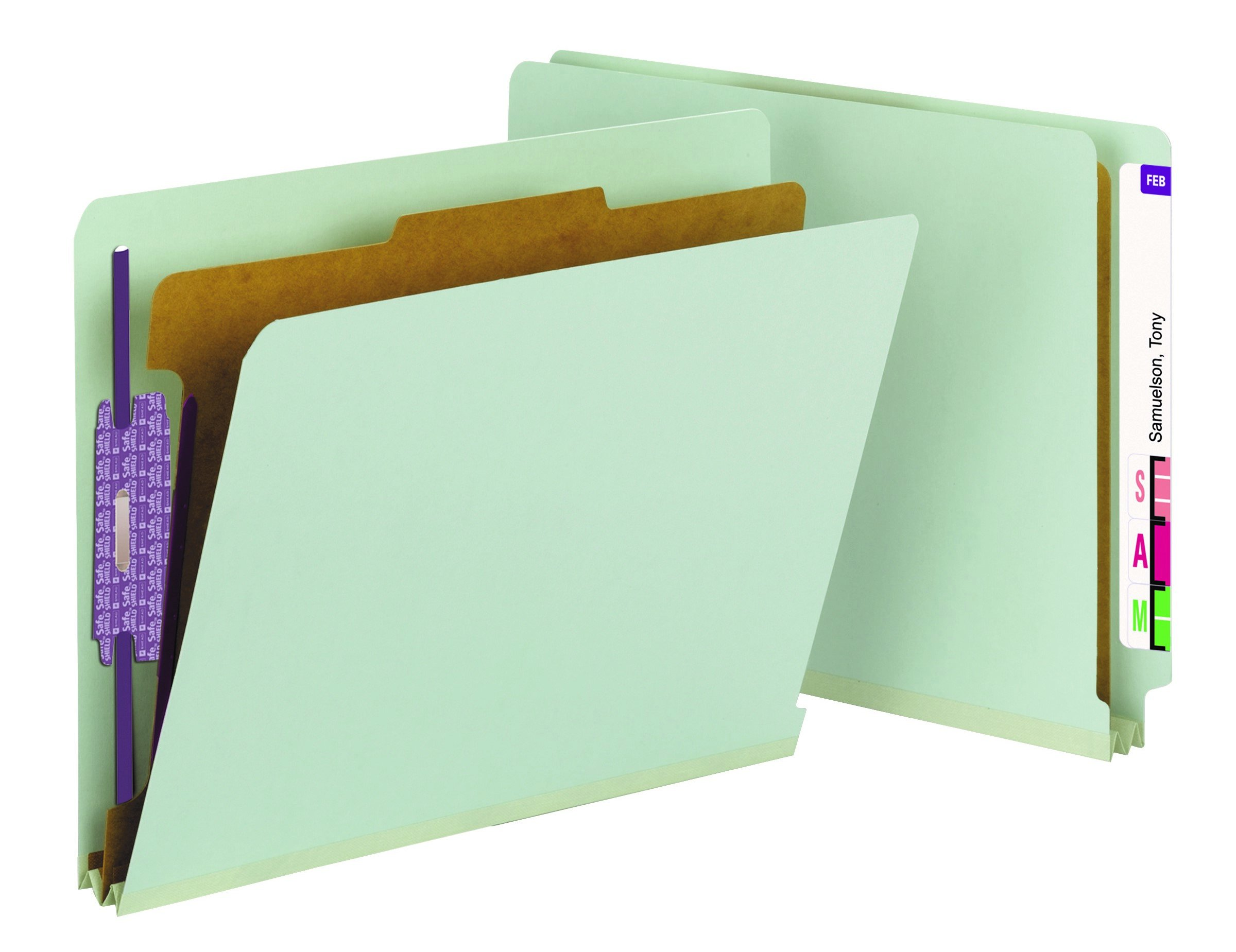 Smead End Tab Pressboard Classification File Folder with SafeSHIELD Fasteners, 1 Divider, 2'' Expansion, Letter Size, Gray/Green, 10 per Box  (26800)