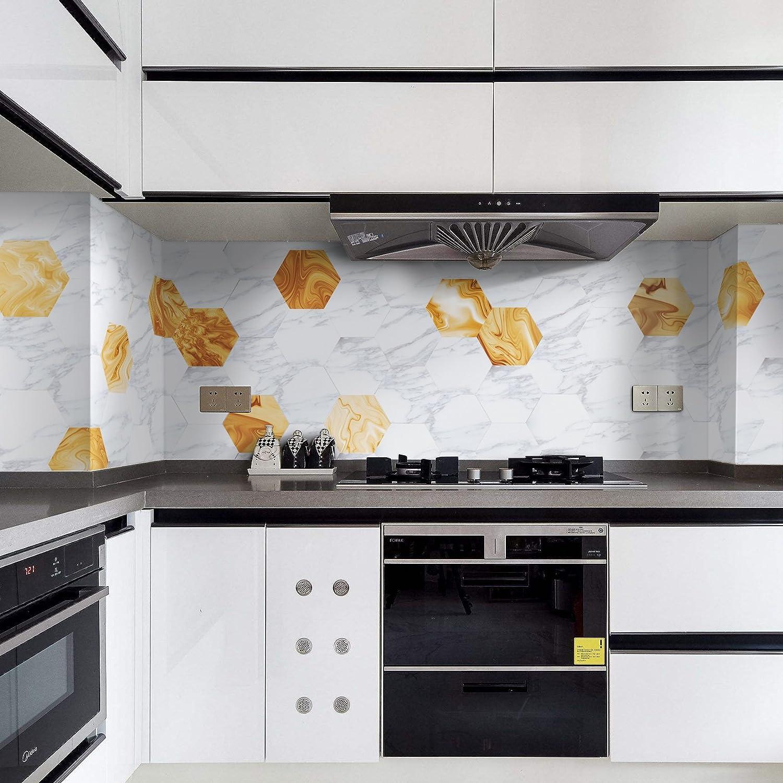 10pi/èce par pack 23cm 11.5cm diam/ètre APSOONSELL Carrelage Adhesif Mural Hexagonal Autocollant /à Motifs Marbre Longueur