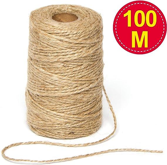 2 mm Tenn Well Jute-Schnur 100 m Floristik Geschenkverpackungen f/ür Pflanzen d/ünn dunkelgr/ün B/ündeln und Basteln