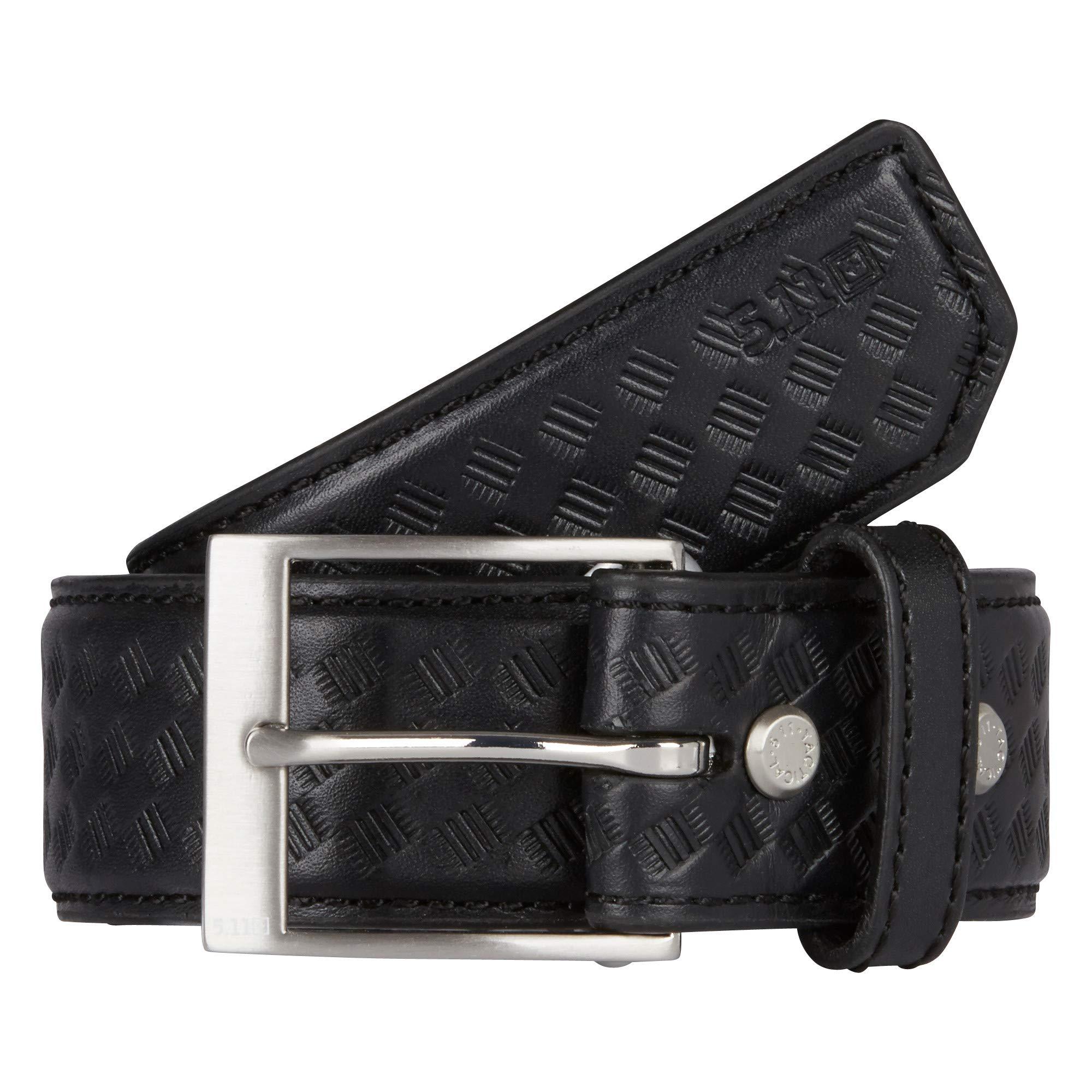 5.11 Tactical #59503 1.5-Inch Basketweave Leather Belt (Black, 3X-Large)