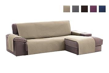 textil-home Funda Cubre Sofá Chaise Longue Adele, Protector para Sofás Acolchado Brazo Derecho. Tamaño -240cm. Color Beig (Visto DE Frente)