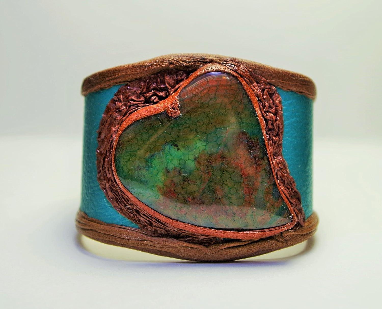 Women's Handmade Renaissance Turquoise Brown Dragon Veins Agate Leather Cuff Bracelet