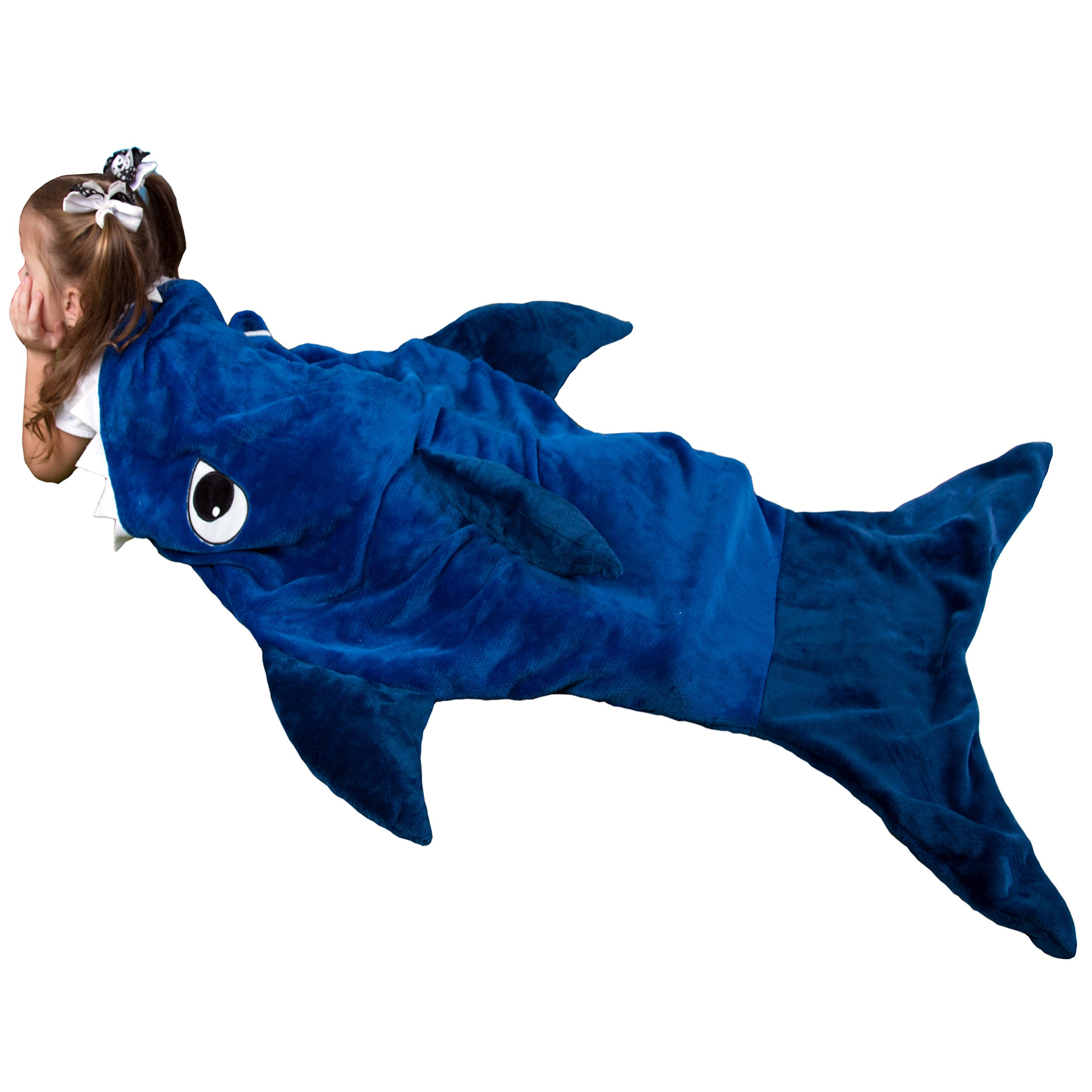 KnopMax Ultra Soft Shark Blanket for Kids– Premium Quality By Features 3D Fins & Teeth – Comfortable & Warm Shark Blanket – Deep Blue Color & Plush Fabric