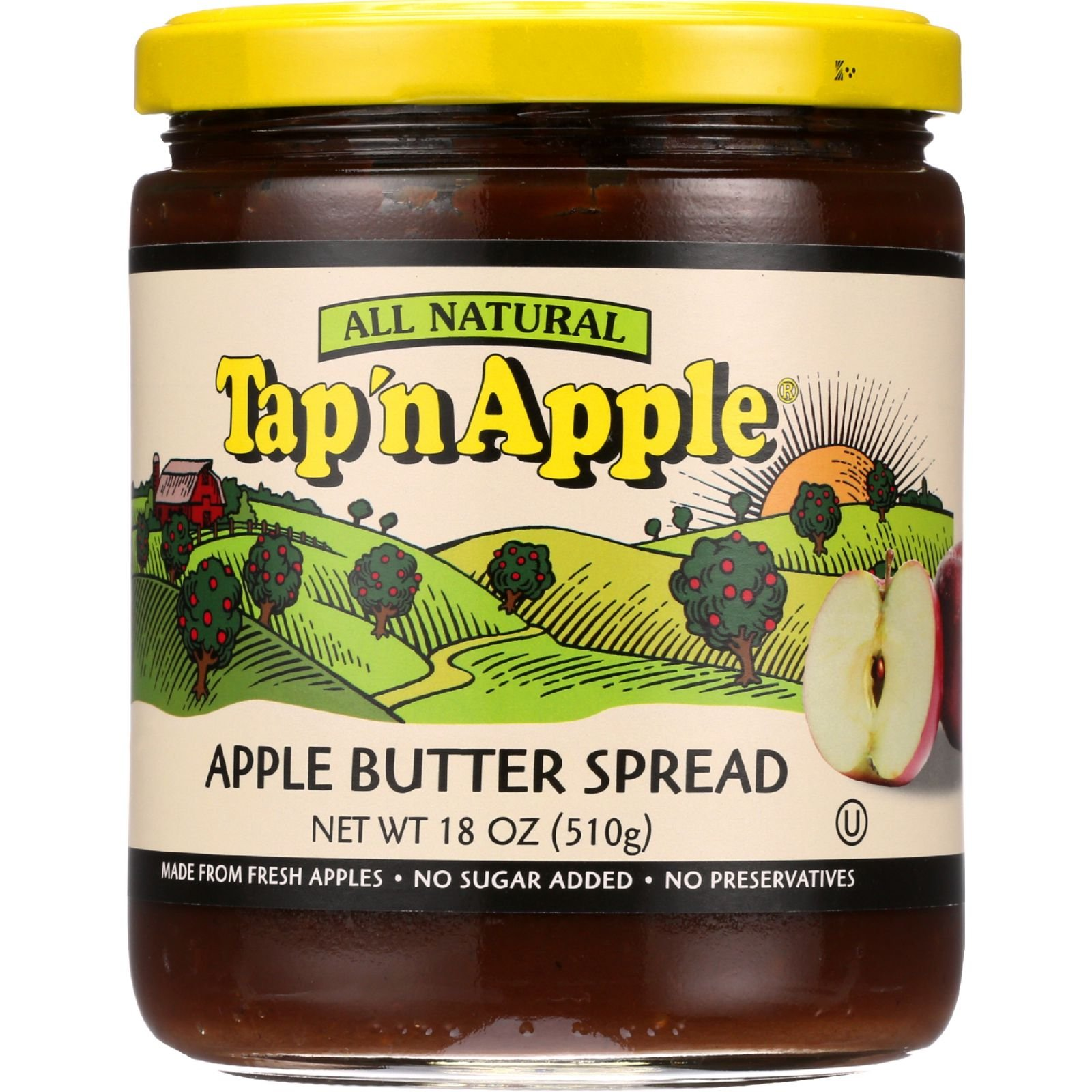 TapN Apple - Apple Butter - 18 oz - case of 12 - All Natural - Made from Fresh Apples