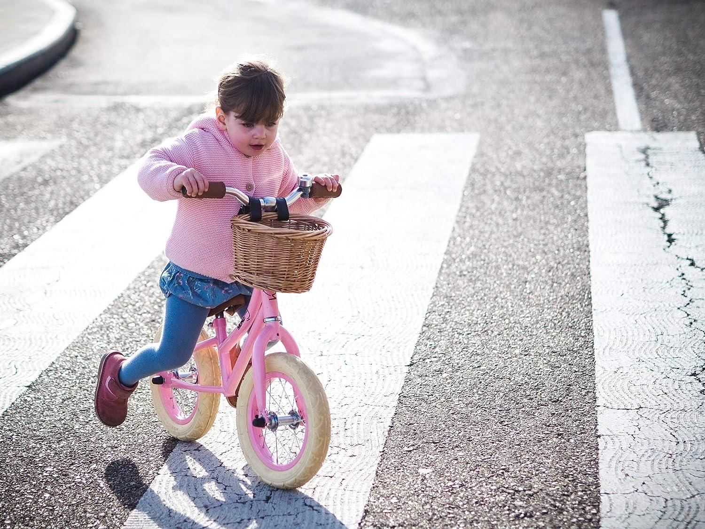 MUNDO PETIT Bicicleta de Aprendizaje sin Pedales Vintage 12 con Cesta de Mimbre Rosa Vaenilla de 2 a 5 y 6 a/ños