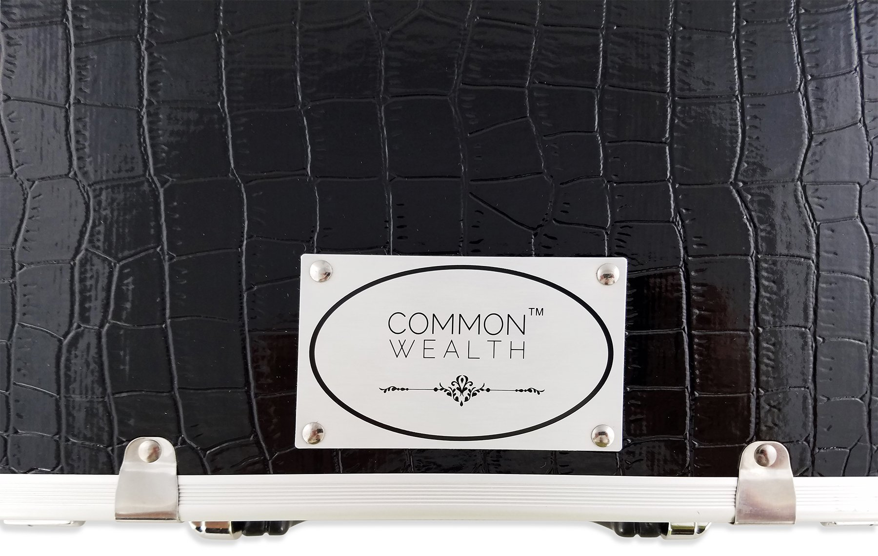 Common Wealth Barber Stylist Lock Attache Carrying Portable Travel Case Organizer For Clippers Trimmers Shears Scissors Combs Blades Styling Tools Black Crocodile Display Storage System by Commonwealth