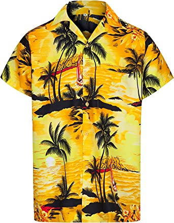 Redstar Fancy Dress - Camisa Hawaiana de Manga Corta - para Hombre - Aloha Verano - Todas Las Tallas - Amarillo - S: Amazon.es: Ropa y accesorios