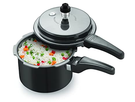 Tosaa Star Range Plus Induction Base Hard Anodised Aluminium Pressure Cooker, 3 Litres, Black Pressure Cookers at amazon