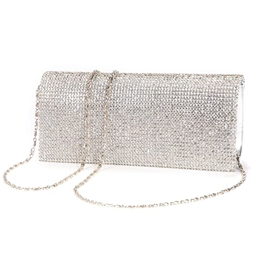 Shimmering Diamante Crystal Cover Evening Bag Clutch Purse Party Wedding  Prom 7289e56eb08f4