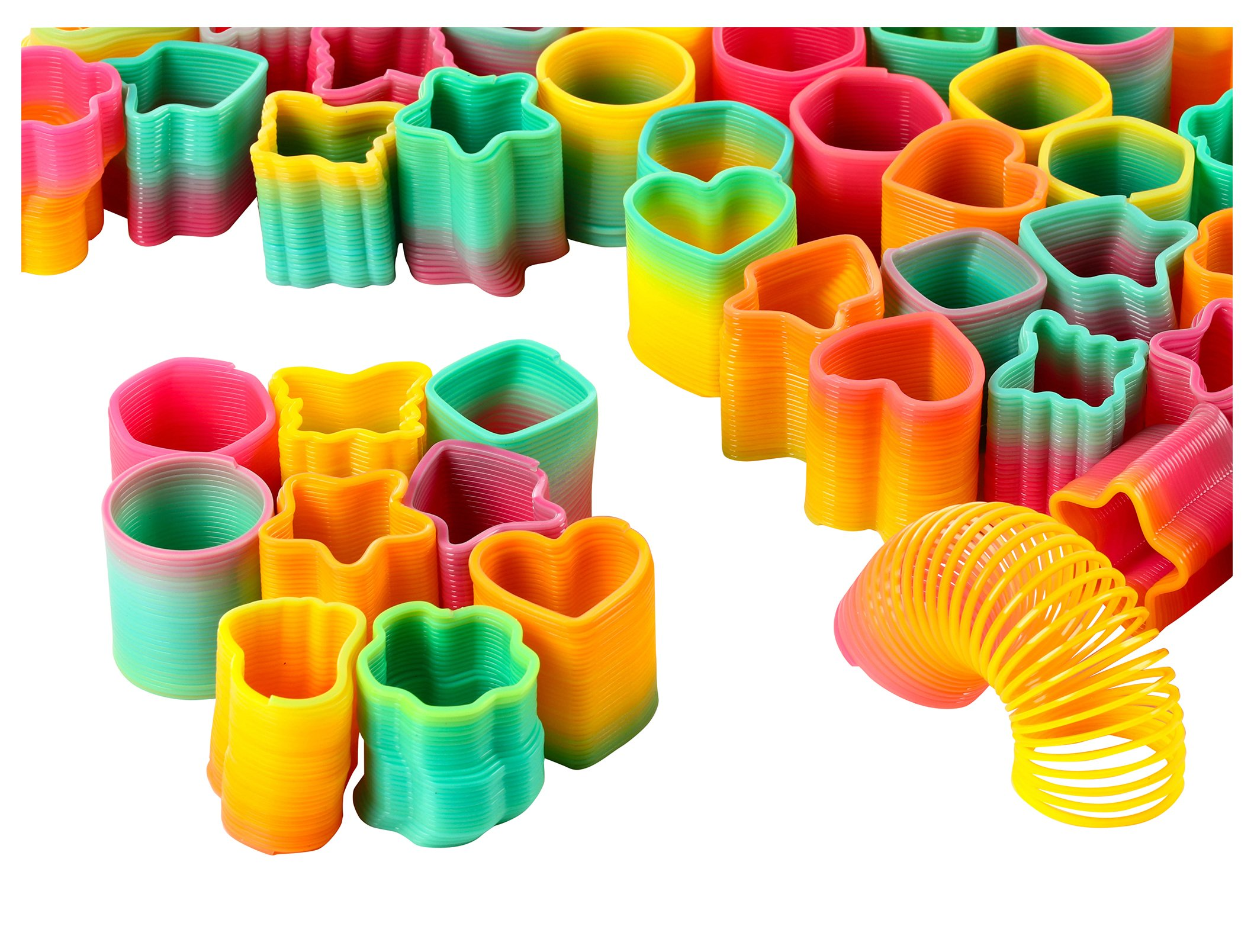 Blue Panda Rainbow Slinky Toy - 50-Pack Mini Plastic Slinky, Rainbow Coil Springs in 9 Shapes Kids Birthday Party Favors, Pinata Fillers, Goodie Bags, 1.5 x 1.25 inches