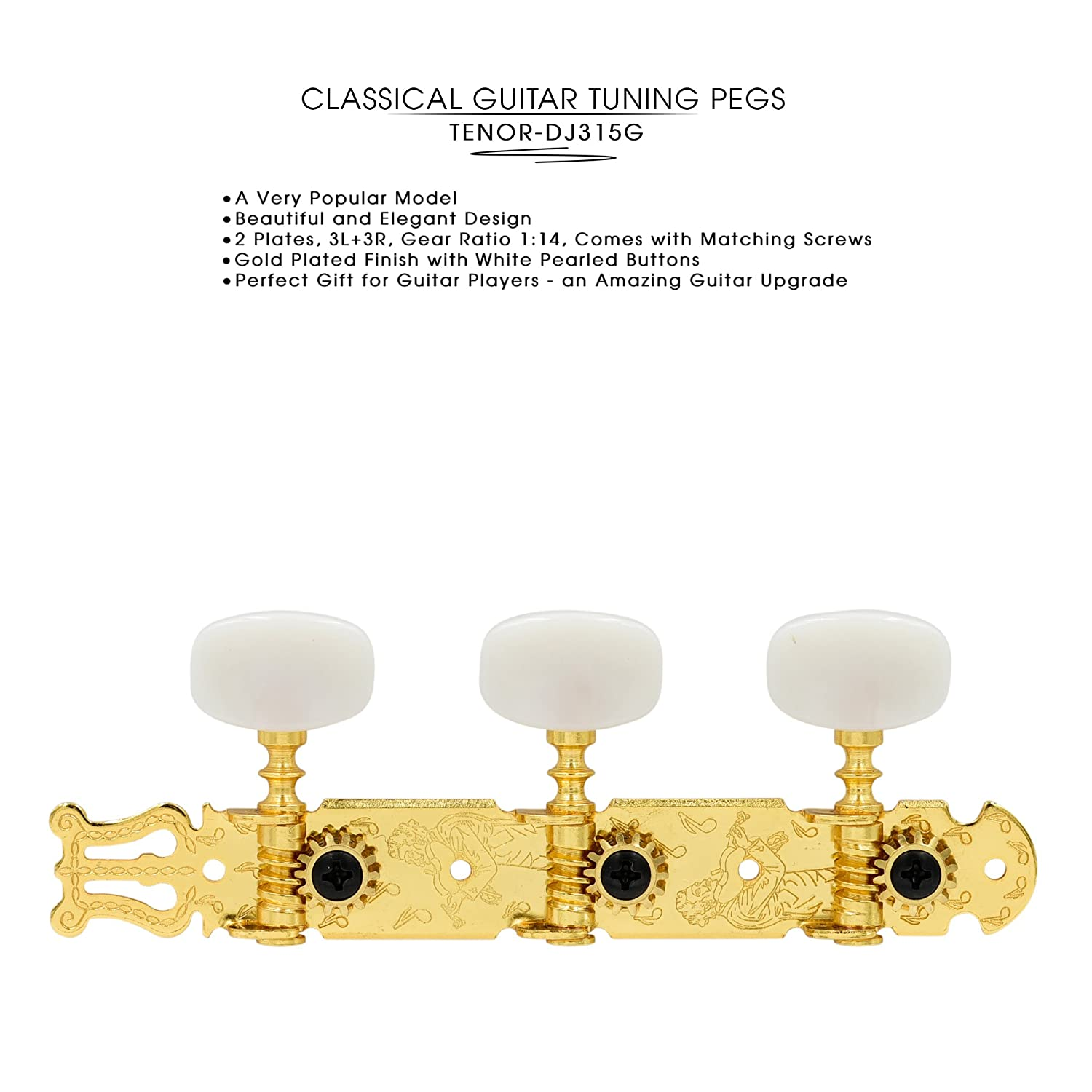 DJ310NK-A1B TENOR Classical Guitar Tuners, Tuning Key Pegs/Machine Heads for Classical or Flamenco Guitar with Nickel Finish and Ebony Colored Buttons. TENOR-DJ310NK-A1B