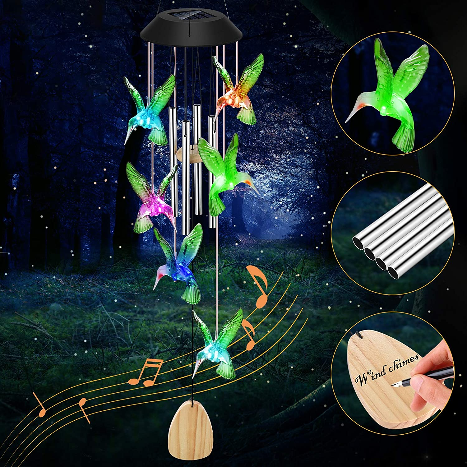Solar Wind Chimes Changing Colors, CrazyFire Waterproof Solar Powered Hummingbird Wind Chimes for Outside with 4 Tubes, LED Solar Hummingbird Lights, Housewarming Gift for Patio Yard Home Garden Decor