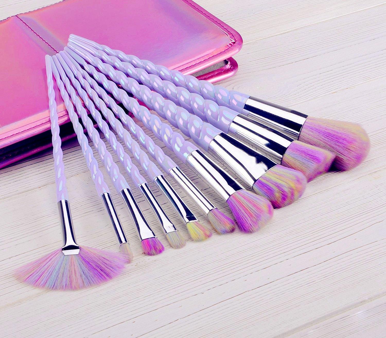 Amazon.com: QERI Unicorn Makeup Brush Set 10pcs Make Up Brushes Professional Foundation Powder Cream Blush Brush Kits: Beauty