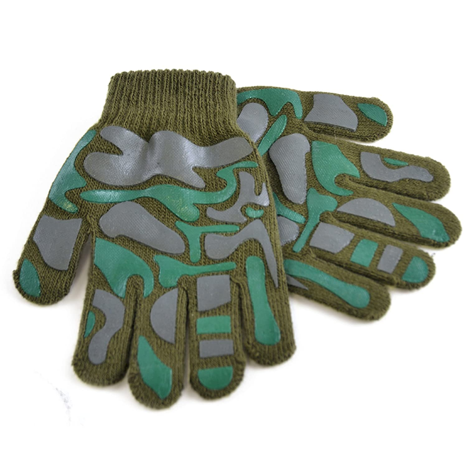 Childrens Boys Camo Design Winter Magic Gloves (One Size) (Grey) Universal Textiles UTGL294_3