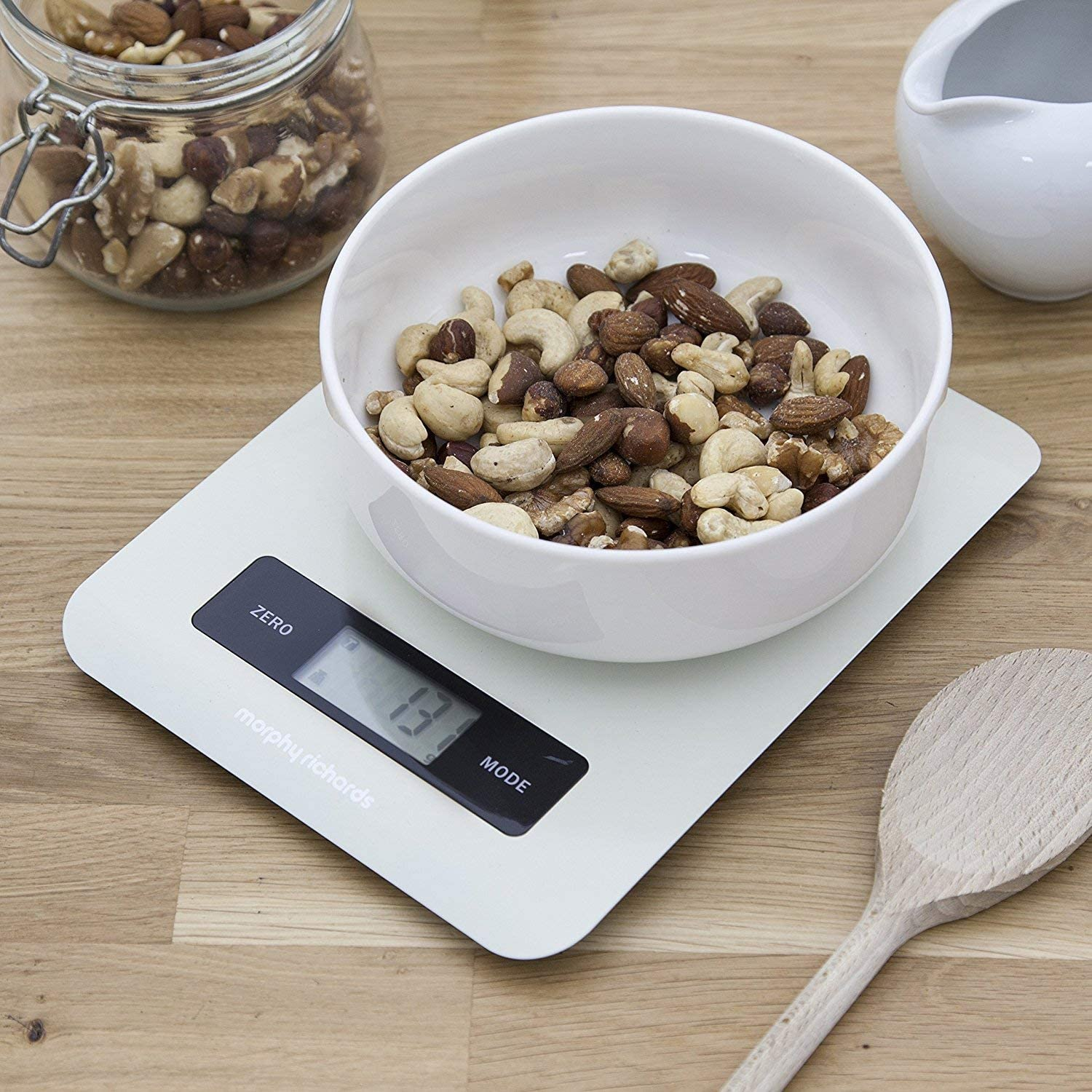 Morphy Richards Kitchen Scales, Accents Range, Digital Kitchen Scales, Touch Screen Stainless Steel, Ivory Ivory