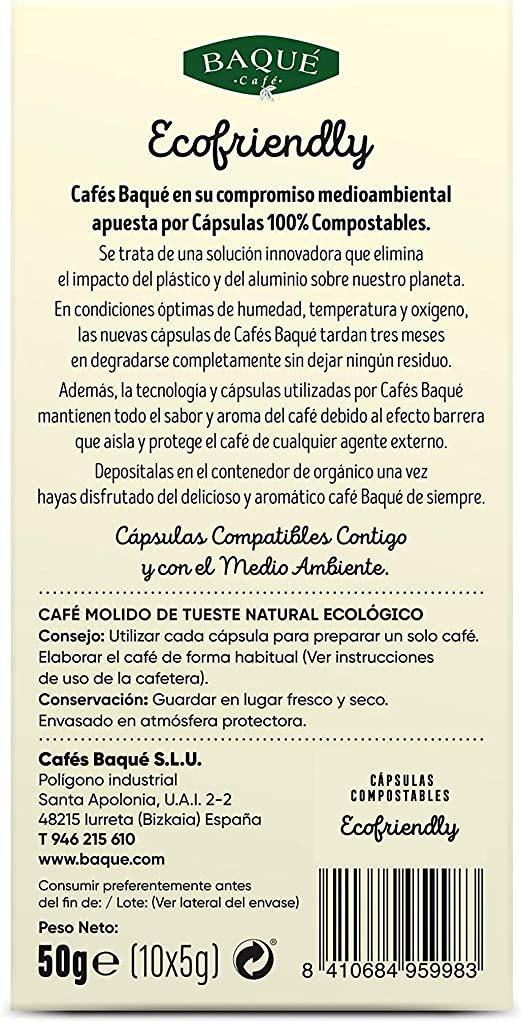 Cafés Baqué - 10 Capsulas Compatibles Nespresso * Orgánico Intenso ...