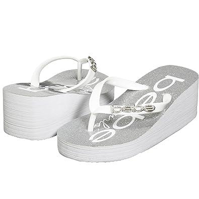 666aa8e50284b8 bebe Summer Beach Fashion Thong Wedge Sandals Lightweight Eva Sole Glitter  Footbed Rhinestones Classical Comfortable Girls