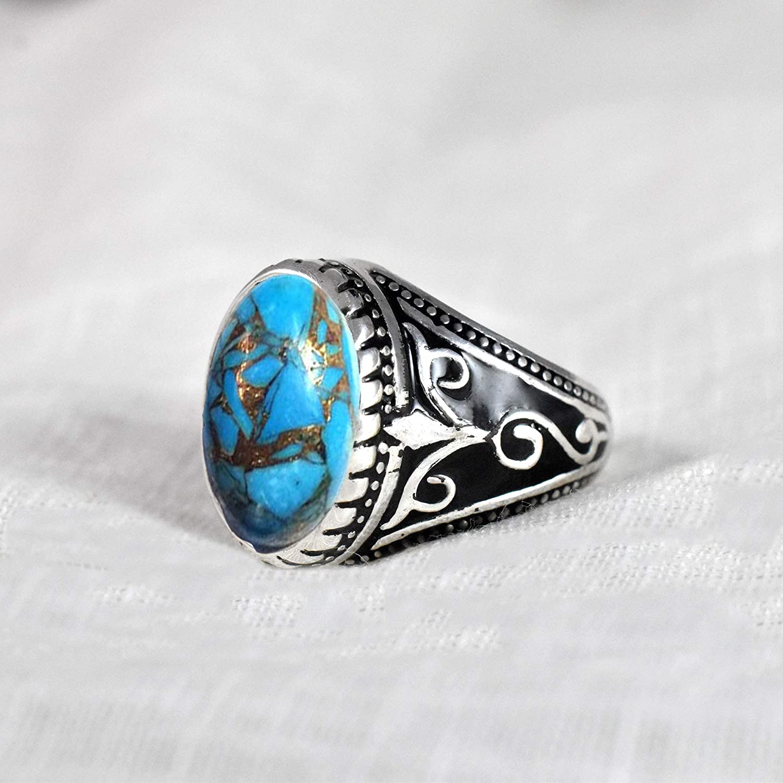 Sterling Silver Rose Gold Ring Men/'s Gift Ring Handmade Oval Turquoise Ring Blue Arizona Turquoise Gemstone Ring Bezel Set Gift Ring