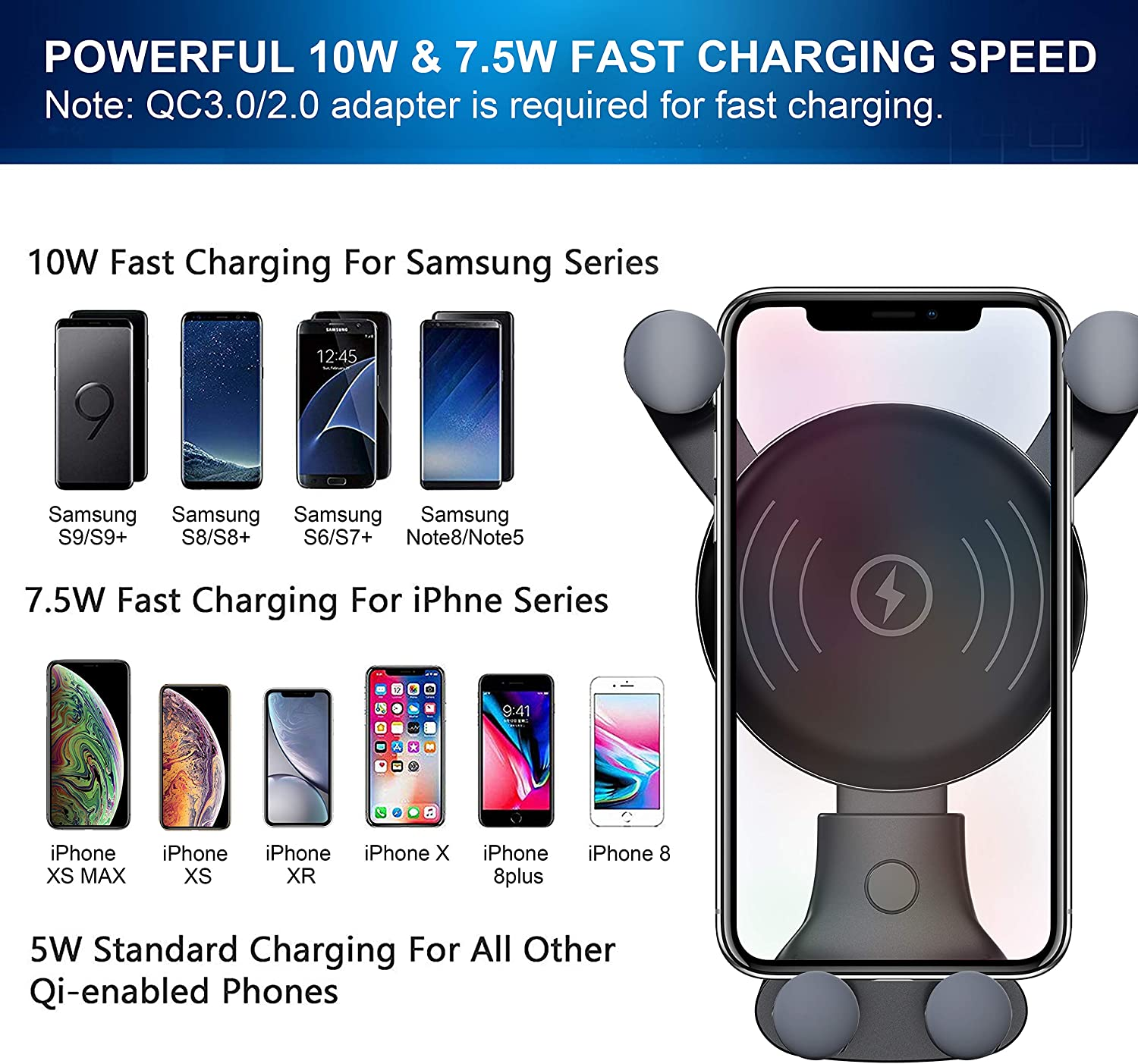 7.5W Compatible for iPhone Xs Max//Xs//XR//X// 8//8 Plu Air Vent Phone Holder 10W Compatible for Samsung Galaxy S10//S10+//S10e//S9//S9+//Note 9 10W Wireless Car Charger Wireless Fast Car Mount