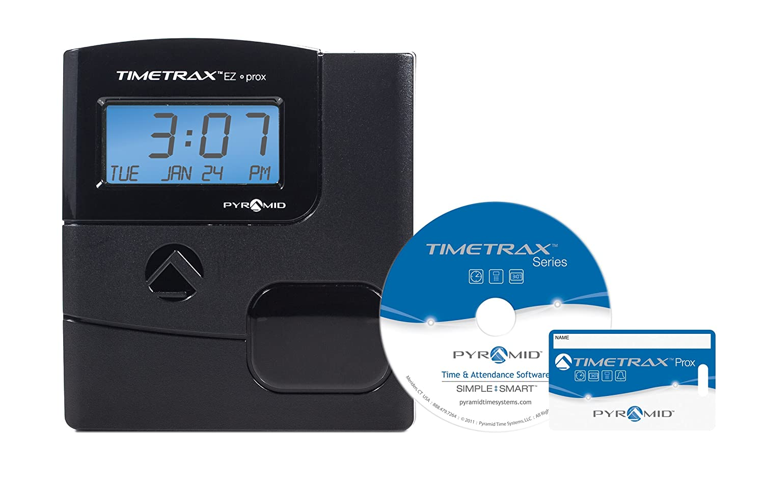 Pyramid TimeTrax TTEZEK Automated Swipe Card Time Clock System with Software - Made in USA Pyramid Time Systems