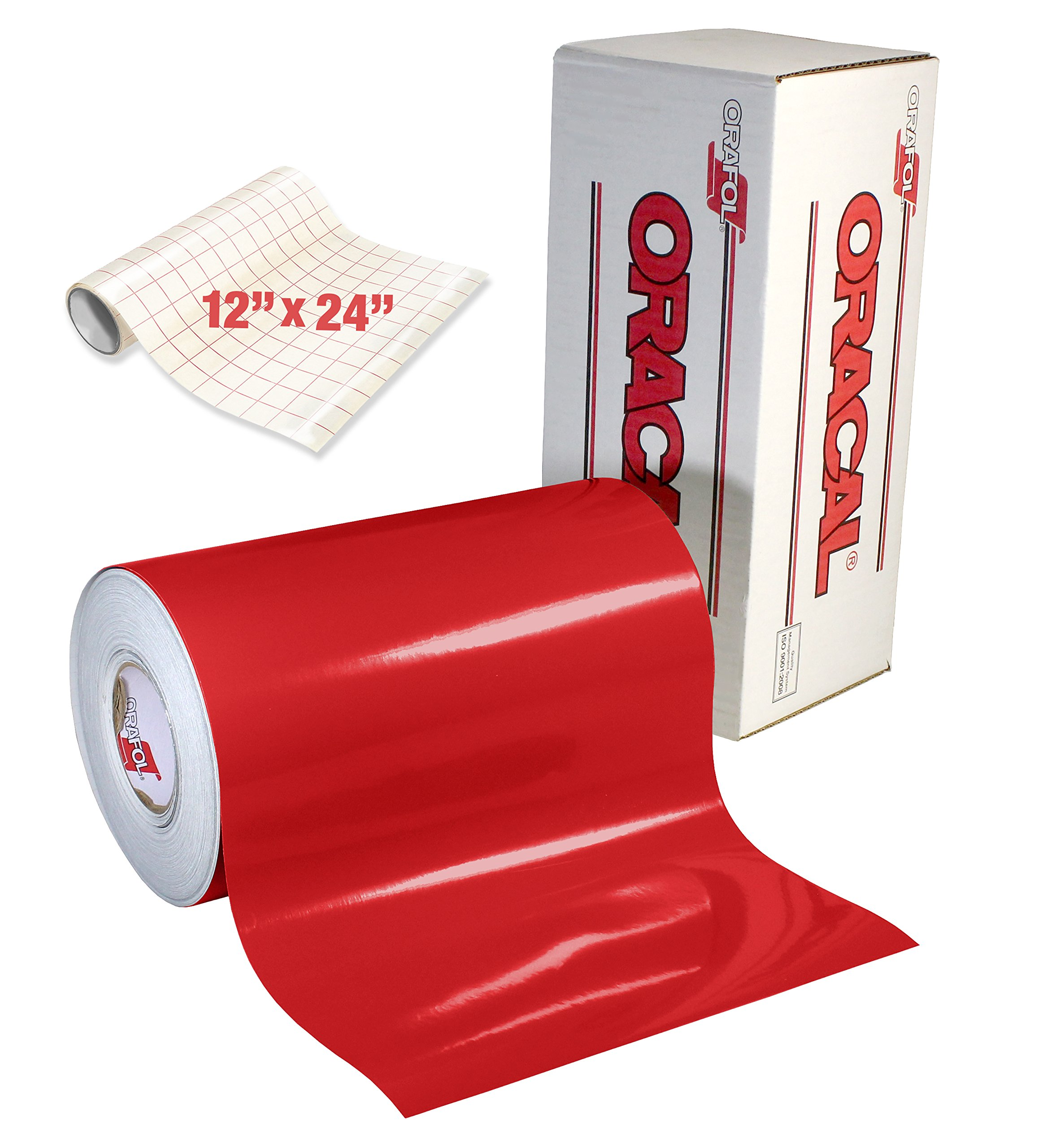 ORACAL Gloss Red Adhesive Craft Vinyl for Cameo, Cricut & Silhouette Including Free Roll of Clear Transfer Paper (50ft x 12'')