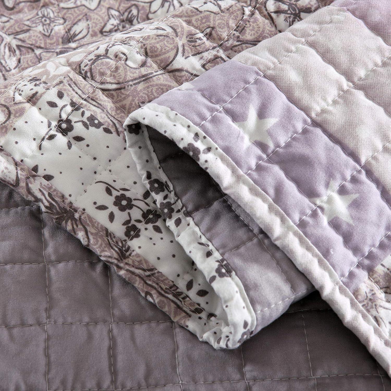 2 x Tagesdecken Bett/überwurf Steppdecke Patchwork Wendedesign Bettdecke Stepp Decke Doppelbett unterf/üttert und gesteppt WOLTU/® BD12m01-2 150x200 cm