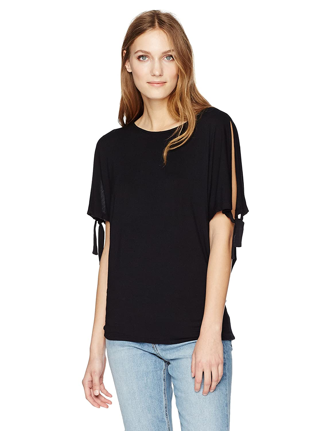 Black Velvet Womens Modal Knit Tie Sleeve Top TShirt