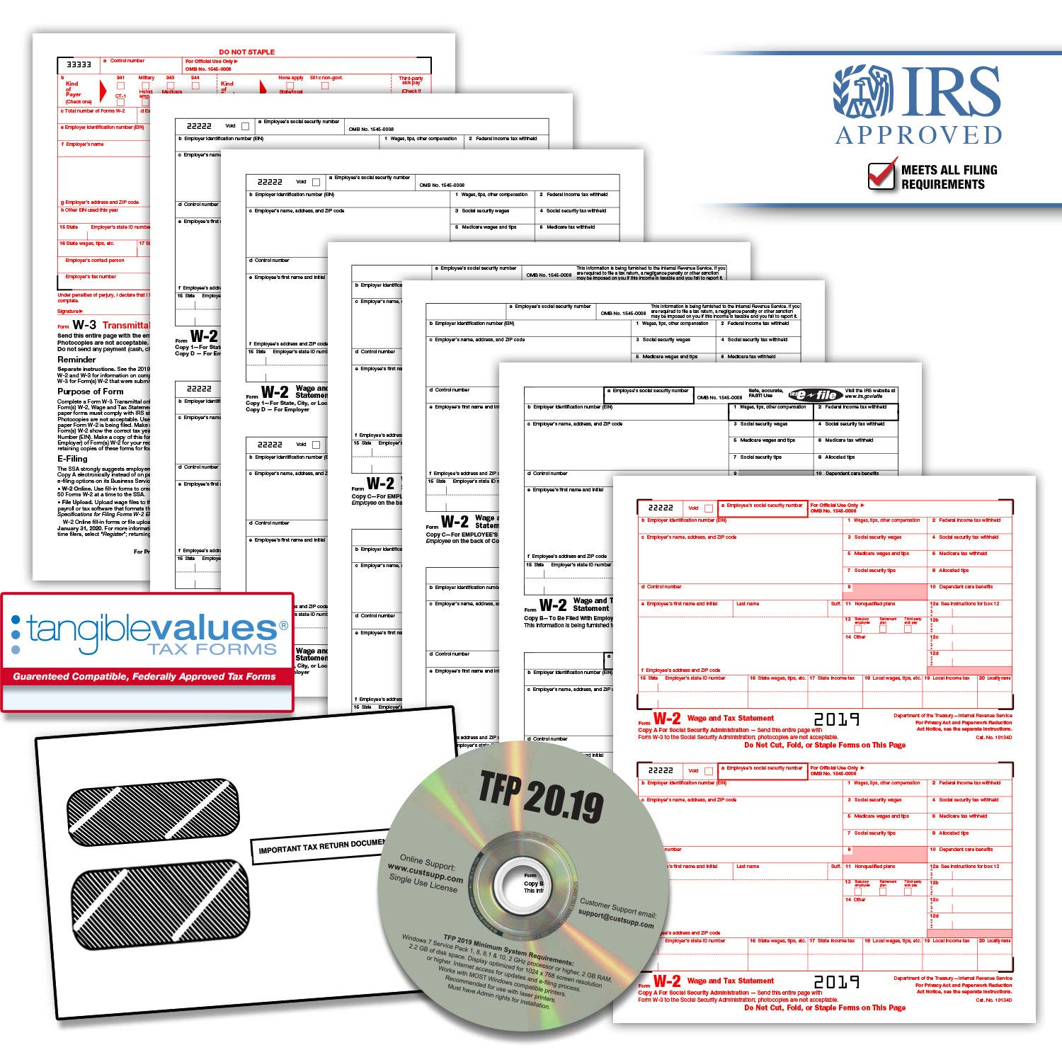 Tangible Values W-2 Laser Forms (6-Part) Kit with Envelopes Plus TFP Software for 50 Employees (2019) by Tangible Values Business Solutions