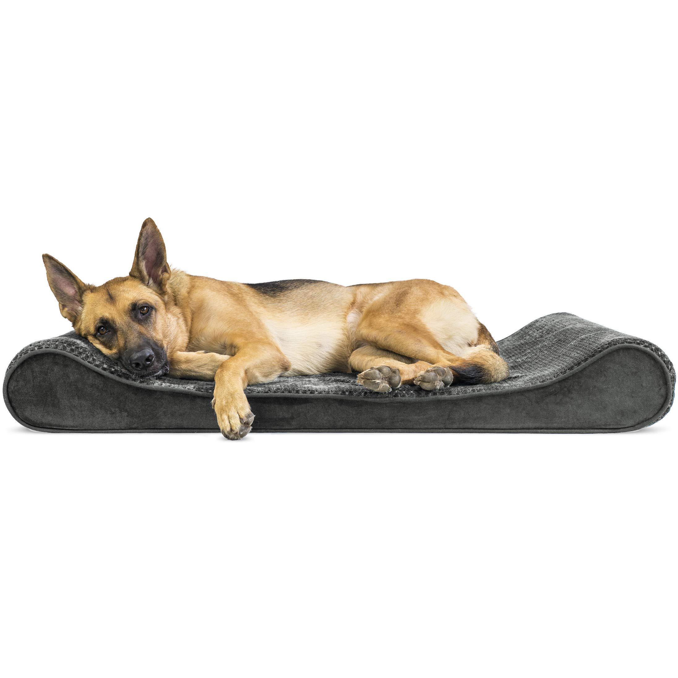 Furhaven Pet Dog Bed | Orthopedic Minky Plush & Velvet Ergonomic Luxe Lounger Cradle Mattress Contour Pet Bed for Dogs & Cats, Gray, Jumbo