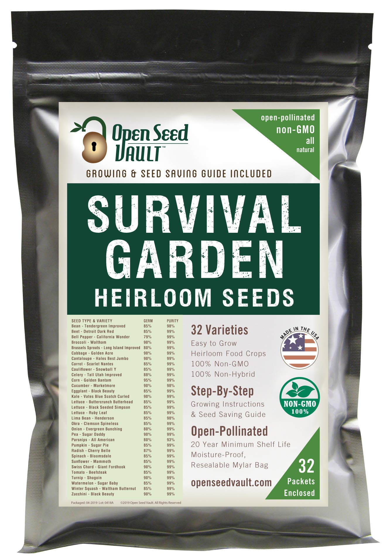 Survival Garden 15,000 Non GMO Heirloom Vegetable Seeds Survival Garden 32 Variety Pack by Open Seed Vault 1 32 Varieties of All Natural Vegetable Seeds: Non hybrid, Non gmo, Heirloom 100% Naturally Grown and Open Pollinated seeds with high Germination Rate Vegetable Growing and Seed Harvesting Guide Included with Seeds Tested for Maximum Germination and Yield.