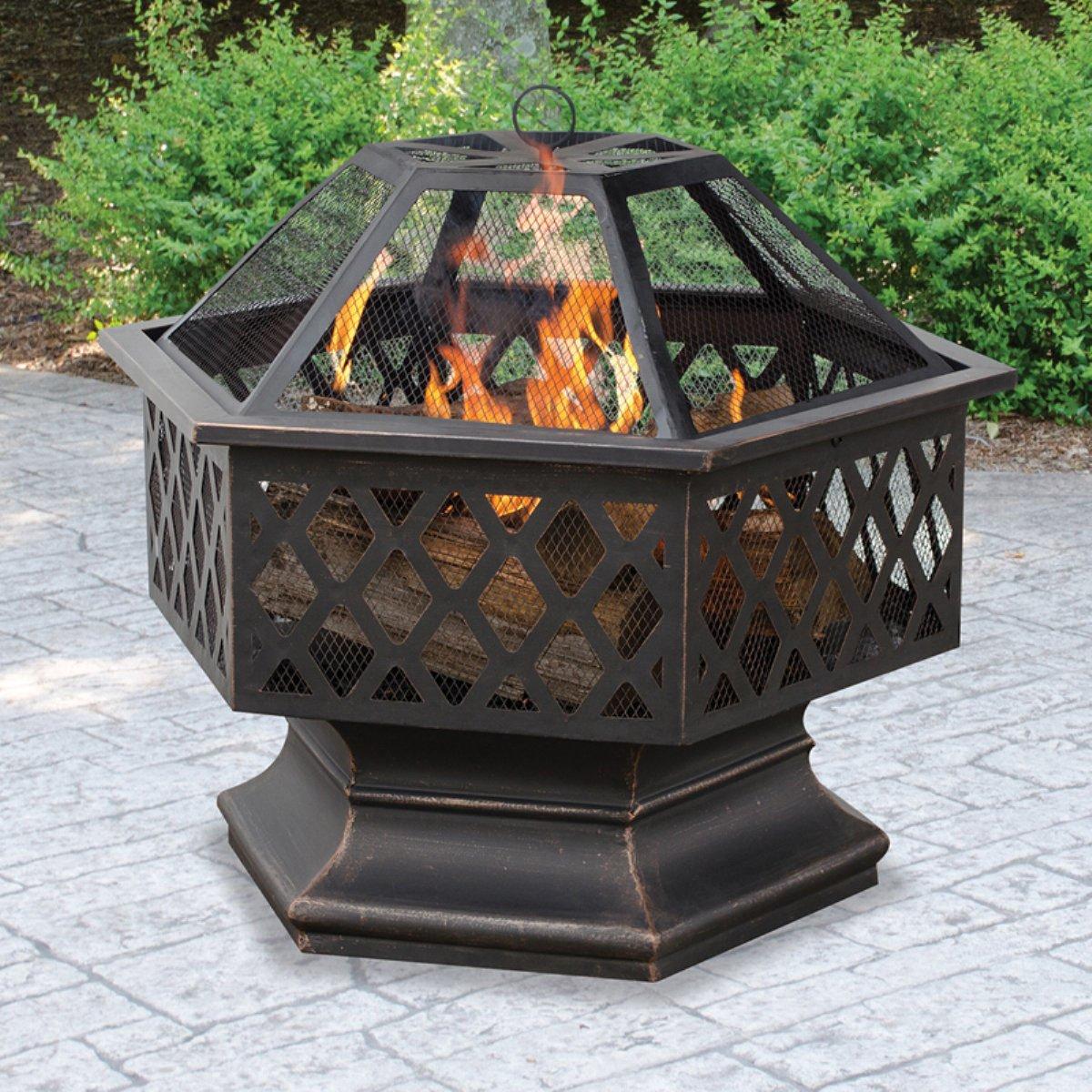 Belleze Hex Shaped Firepit Outdoor Home Garden Backyard Fireplace Fire Pit w Lid