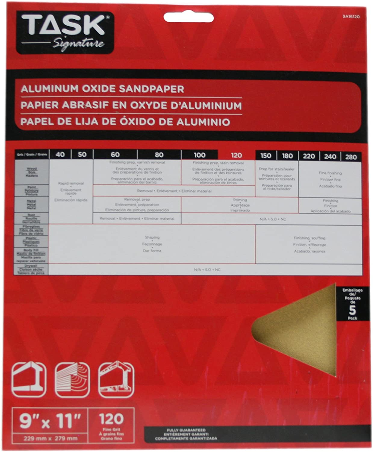 Task Tools SA16080 9-Inch by 11-Inch Signature Aluminum Oxide Sandpaper 80 Grit 5-Pack LCM Team Task Tools