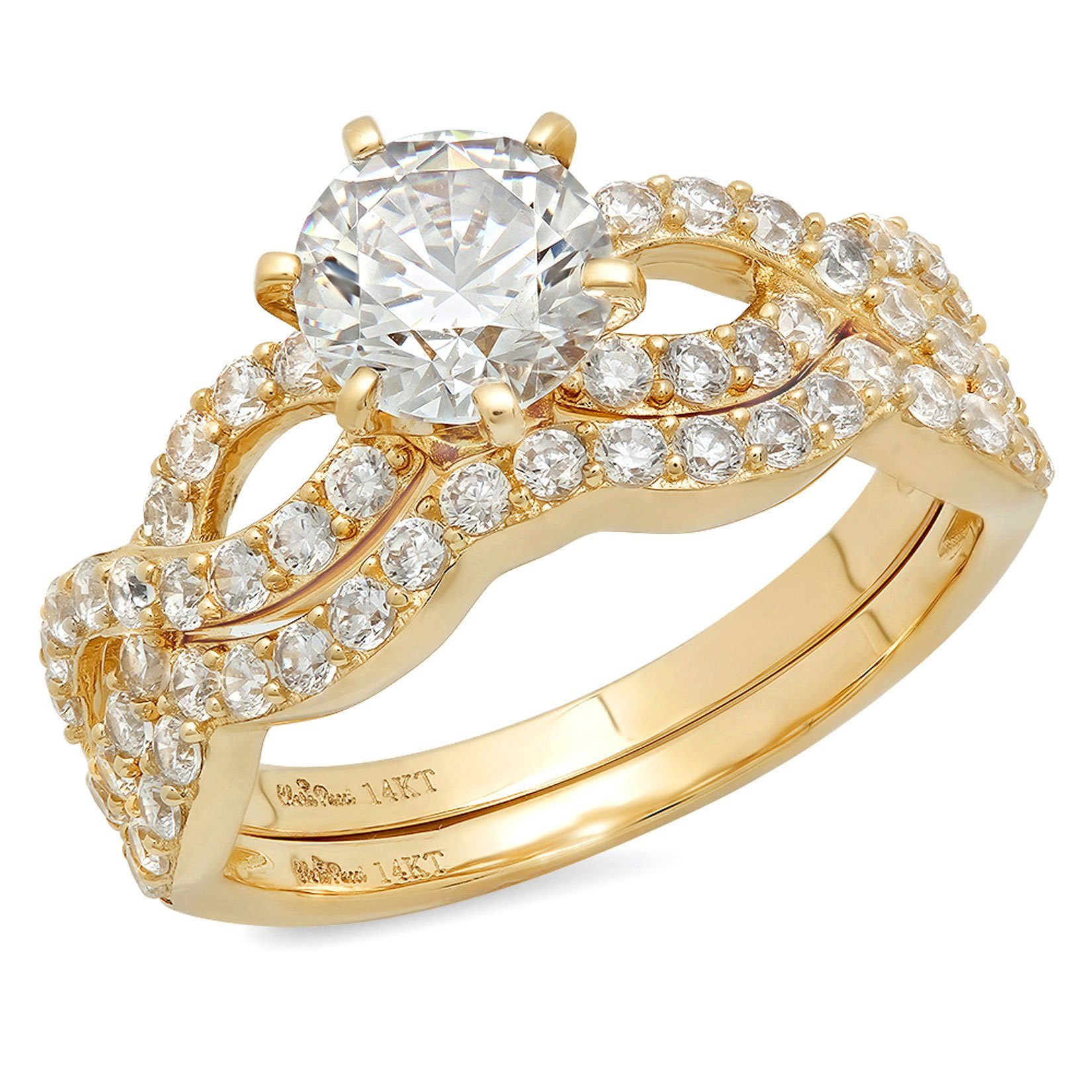 Clara Pucci 1.4 CT Round Cut Pave Halo Bridal Engagement Wedding Ring band set 14k Yellow Gold, Size 6.5