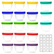 18 Pack Baby Food Storage, 4 Ounce Baby Food Containers with Lids, 6 Assorted Colors, with Lids Labels