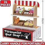 BeeSmart Spielzeug-Supermarkt aus Holz mit Hölzernen Spielzeug-Lebensmitteln, inkl. 26 Teile